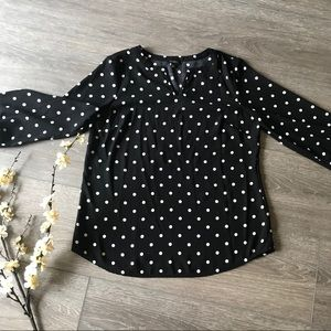 Talbots womens Black white polka dot shirt medium
